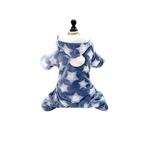 Sukisuki Hond Kerst Kostuum, Ster Maan Print Puppy Hond Fleece Warm Huisdier Sweater Jumper Jas Jas Kleding voor Winter Grote Kleine Honden Outfit, XL, Blauw