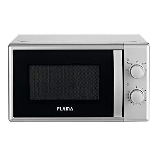 Flama Microondas Plata 1839FL, 700W, Capacidad de 20L, 5 Programas Automáticos, Sencillo y Compacto, Control Manual, Función de Descongelación
