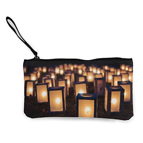 Yuanmeiju Lichter Weihnachtsnacht dunkle Kerzen niedliche Leinwand ändern Münze Brieftasche Tasche Tasche Reißverschluss Halter Geldbörse Handgelenk Riemen Make-up Bleistift Fall personalisiert