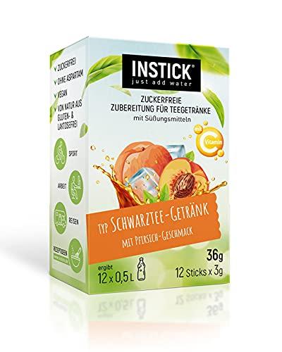 INSTICK | Zuckerfreies Instant-Getränkepulver - Schwarzer Tee Pfirsich / Eistee Pfirsich | 12-er Packung für 12 x 0,5 L