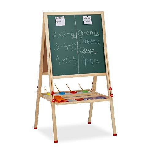 Relaxdays Standtafel Kinder, höhenverstellbar & magnetisch, Holz, Whiteboard & Kreidetafel, 122-160 x 65 x 69 cm, Natur