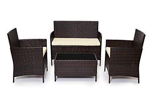 EVRE Rattan Garden Furniture Set Patio Conservatory Indoor Outdoor 4 piece set table chair sofa (Mixed Brown)