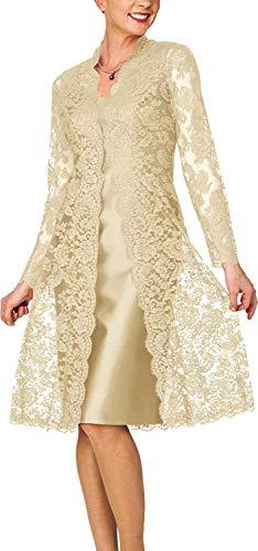 HUINI Brautmutterkleider mit Jacke Knielang Abendkleider Hochzeitskleid Langarm Spitzen Festkleider Champagne 42