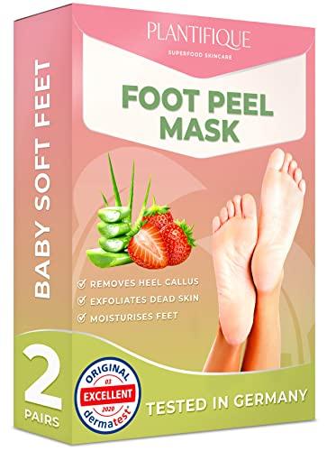 Maschera Piedi Esfoliante - Foot Peel Mask Dermatologicamente Testata, Efficace Peeling Piedi, Scrub Piedi e rimozione Calli dei Piedi - Foot Mask alla fragola confezione da 2 by Plantifique