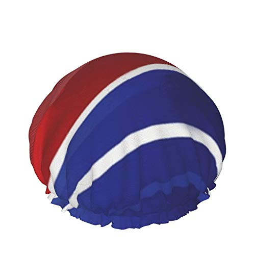 4 de julio Diseño patriótico Holiday Reds Clip Art Gorro de ducha de baño Capas impermeables dobles ajustables Sombrero de ducha de baño Protección para el cabello Reutilizable para mujeres Hombres