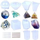 6 Stück Harzgussformen Pyramide, Diamanten, Cubic, Steinform, Kugel, dreieckige Pyramide mit 5...