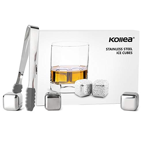 Kollea Stainless Steel Chilling Cubes Reusable Ice Cube Whiskey Stones for Drinks with Ice Tongs and Freezer Storage Tray for Whiskey (6 Pack)