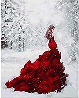 赤いドレスを着た子供と大人の女の子のためのDIY油絵の数字でペイント40x50cmフレームなし家の装飾