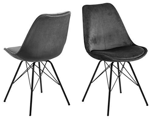 AC Design Furniture Emanuel Dining Chair, Polyester, Grey, L: 54 x W: 48.5 x H: 85.5 cm