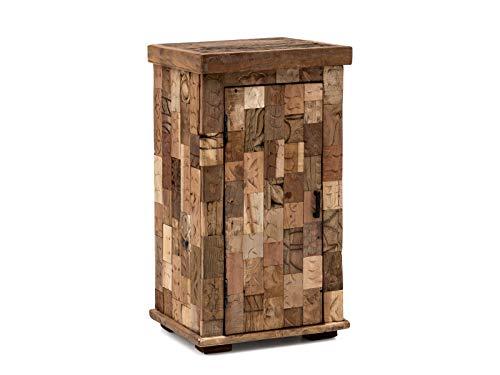 Woodkings® Bad Unterschrank Patna Altholz Möbel rustikal Unikat Holz antik braun Innenleben von Ziegelformen Badschrank Badmöbel Landhaus Unikat recycelt