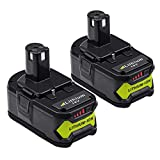 2X Moticett 18V 5,5Ah Lithium Batterie de remplacement pour Ryobi ONE+ RB18L50 RB18L40 RB18L25 P108 P107 P122 P104 P105 P102 P103 avec indicateur LED