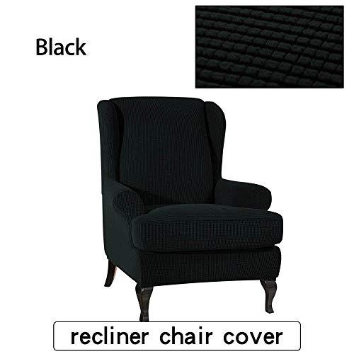 Rekbare armleuning King-rugstoelhoes Elastische fauteuil Wingback Wing Sofa-rugstoelhoesbeschermer SlipCover-beschermer-Zwart