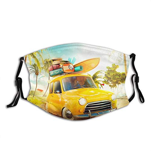 YYTT8 Face Scarf Mouth Protection Bandana Washable and Reusable With Filters Funny Retro car Surfboard suitcases on