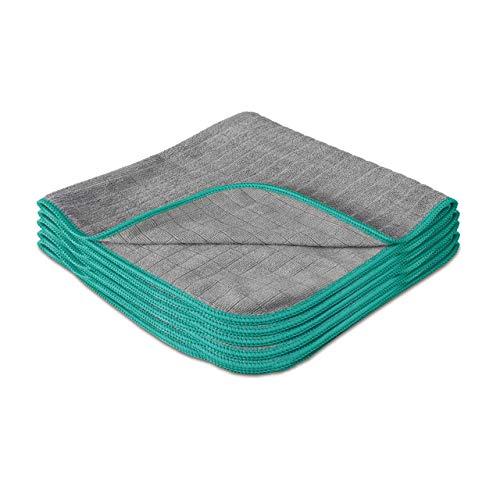 Lavandola® 5X Mikrofasertücher für Ihren Haushalt 30x30cm - extrem saugstark und schonend weich Dank 380GSM - fusselfreie Reinigungstücher für Haushalt, Küche und Bad - Microfasertuch