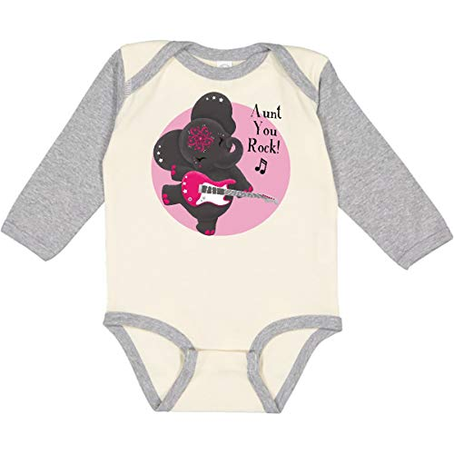 inktastic Long Sleeve Creeper 12 Months Natural and Heather - Tiny Tusks 2d32c