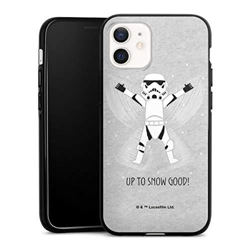 DeinDesign Silikon Hülle kompatibel mit Apple iPhone 12 Case schwarz Handyhülle Star Wars Storm Trooper Typo Stormtrooper