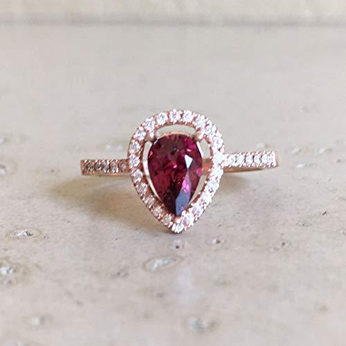 Amazon Com Rose Gold Garnet Engagement Ring Halo Pear Shape Garnet Ring Red Garnet Promise Ring Alternative Engagement Ring February Birthstone Ring Handmade