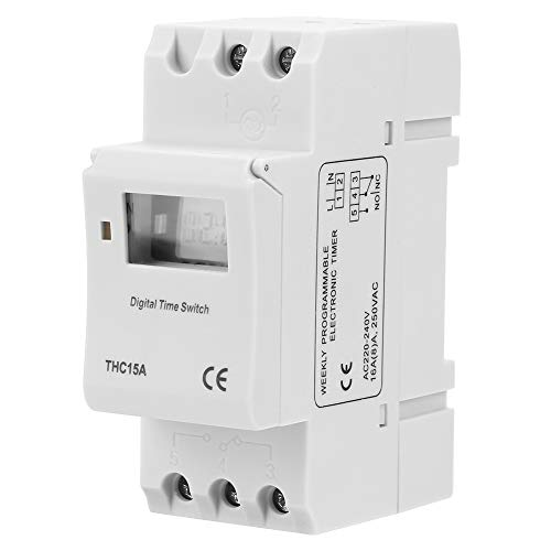 16A Interruptor temporizador programable digital de carril DIN, THC15A 220-240VAC 16A Aparatos...