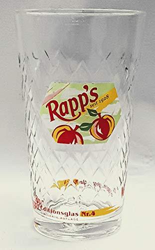 Rapp´s 0,25l Glas/Apfelwein Glas/Editionsglas Nr.4 / Limitierte Auflage/Geripptes/Trinkglas/Saft/Sammlung/Gastro/Bar / 6er Set