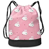 Bunny cute Drawstring Backpack, Sport Gym Bag with Shoe Compartment for Unisex