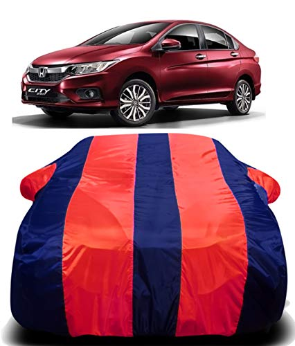 DRIZE™ Honda City IVtec Car Cover Waterproof with Triple Stitched Fully Elastic Ultra Surface Body Protection (RED Stripes)