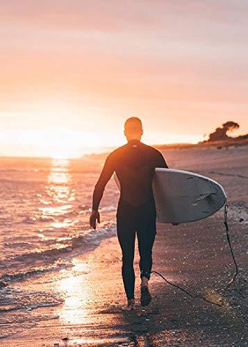 gongyu12 Hombre Sujetando Una Tabla De Surf, Rompecabezas 1000 Piezas Paisaje De Descompresión para Adultos Súper Difícil Regalo Grande Hecho A Mano Juguetes Educativos para Niños