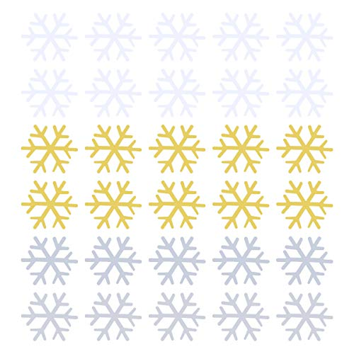 PRETYZOOM 1800 Pcs 18mm Christmas Snowflake Confettis Seqins Snowflakes Table Scatters for Party Merry Christmas New Year Wedding Birthday Baby Shower (White+Silver+Golden)