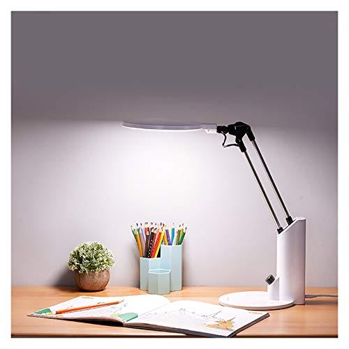 Led-Skrivbordslampa LED Bordslampa läsning ljus Steglös Dimming 3 Färgläge Touch Kontroll ljus Eye Caring Säng Workbench Gavel Barnbelysning (Color : White)