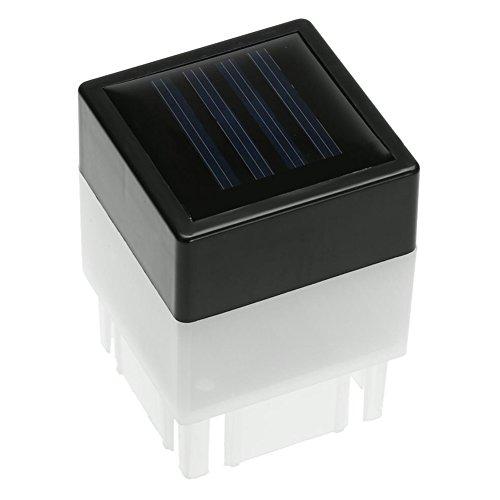 Xpccj Solarpfosten mit transparenter Linse für den Außenbereich, für Zaun oder Terrasse, modernes durchscheinendes Design, solarbetriebene LED-Leuchten