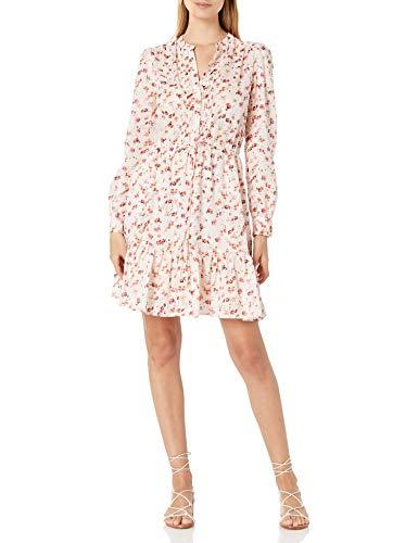Lucky Brand Women's Long Sleeve Button Up Tie Waist Printed Riley Maxi Dress, Pink Multi, L Idaho