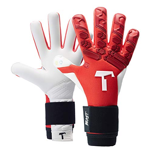 T1TAN Red Beast 2.0 Torwarthandschuhe für Erwachsene, Fußballhandschuhe Herren Innennaht und 4mm Profi Grip - Gr. 10