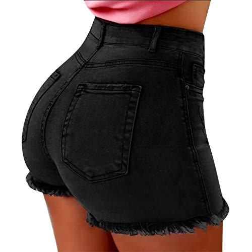 Deloito Sommer Stretch Hotpants Damen Mode Jeans Shorts Sexy Bequeme Hohe Taille Denim Kurz Hosen mit Taschen (Schwarz, Small)
