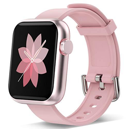 Reloj inteligente para hombres, mujeres, rastreador de ejercicios con pantalla táctil 1.3 Monitor de frecuencia cardíaca Podómetro a prueba de agua deportes Mujeres Hombres Teléfono iOS Andriod (Rosa)