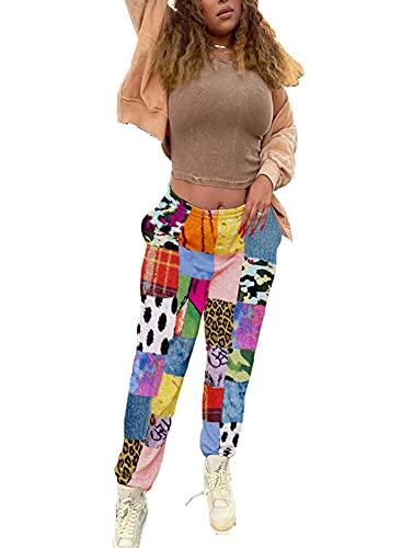 CORAFRITZ Las señoras Mujeres Pantalones Elástico Cintura Estrecha Pierna Alta Cintura Regular Pantalones Color Block Loungewear Pantalones