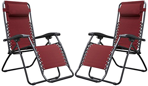 Naomi Home Zero Gravity Chairs, Lounge Patio Outdoor Recliner Chairs Red/Set of 2