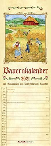 Bauernkalender 2021 - Streifen-Kalender 15x42 cm - mit 100-jährigem Kalender und Bauernregeln - Wandplaner - Küchenkalender - Alpha Edition