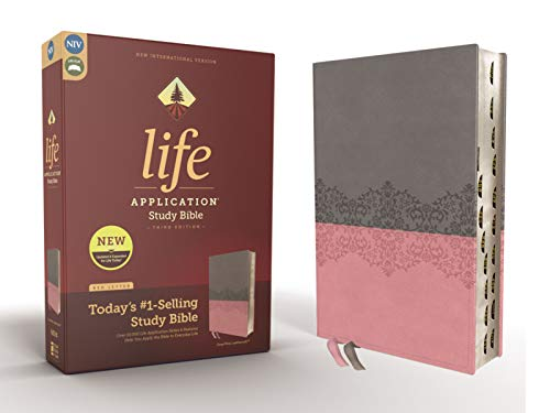 Compare Textbook Prices for NIV, Life Application Study Bible, Third Edition, Leathersoft, Gray/Pink, Red Letter Edition, Thumb Indexed Expanded, Indexed, Updated Edition ISBN 0025986452858 by Zondervan