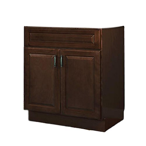 "JSI Quincy 30"" Two Door Solid Maple Frame Espresso Finish Vanity - Cabinet Only"