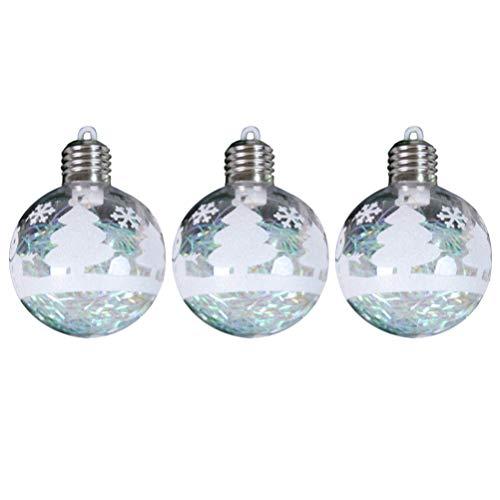 STOBOK 3 Piezas Adornos de Bolas de Navidad árbol de Vacaciones de Navidad decoración Decorativa Colgante con luz