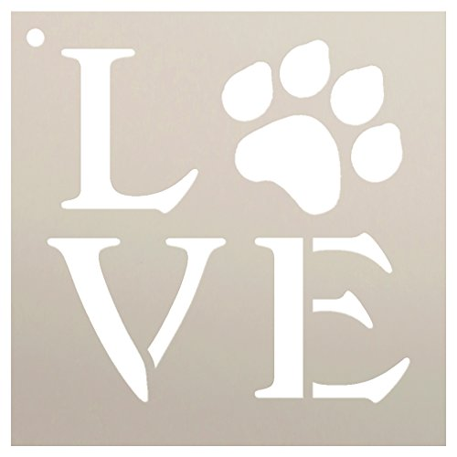 Love Stencil by StudioR12 | Square Paw Print Word Art -Reusable Mylar Template | Painting, Chalk, Mixed Media | Use for Journaling, DIY Home Decor-Animal Lover-Choose Size (6 x 6)