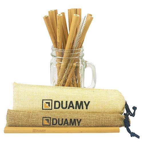 DUAMY Cannucce in bambù riutilizzabili. 12 Cannuccia di bambù ecologiche, Una Spazzola di Pulizia e Due Sacchetti di Tela di Iuta Naturale. Cannucce biodegradabili da 20 cm, Completamente organiche.
