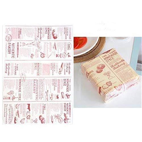 Jiandong Fries Papel de cera 50pcs / Lot de la categoría alimenticia de papel grasa Pan Hamburguesa envolturas de cookies oilpaper 3 Metros (Color : Wine red letter)