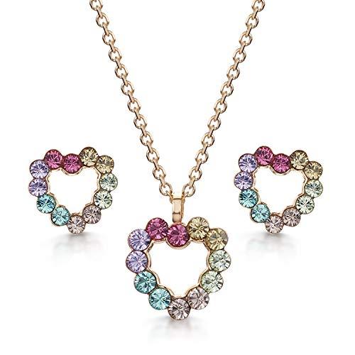 Amberta Joyas - Conjunto de Collar con Colgante a Juego con Pendientes de Botón para Mujer - Plata de Primera Ley 925 con Cristales de Swarovski - Chapado en Oro Rosa con Corazón Multicolor