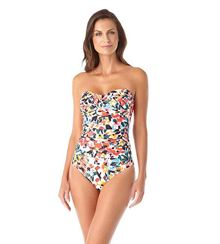 Anne Cole Women's Twist Front Shirred One Piece Swimsuit, Sunset Floral, 12