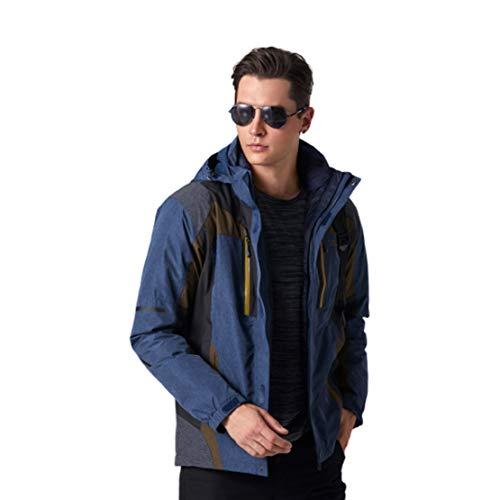 Imperméable pour Hommes Doudoune Doublure Veste de Pluie Imperméable Manteau Chaud Softshell Respirant pour la Randonnée, Le Cyclisme, Le Ski,Blue,XXXL(175-180cm)