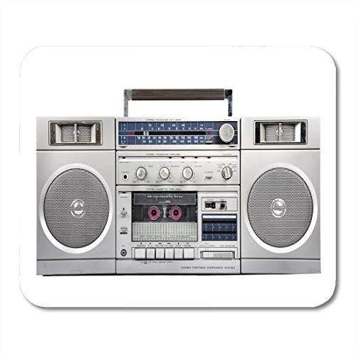 Gaming Mouse Pad Lautsprecher 1980er Jahre Silber Radio Boom Box Kassettenband Stereo Retro Weiß Rechteck Mausmatte rutschfeste Gummibasis MousePads für Computer, Laptop