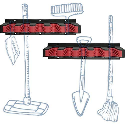 Hausfelder ORDNUNGSLIEBE Besenhalter und Wand-Gerätehalter - 2er Set Besenhalterung, Halter und Aufhängung für Besen, Gartengeräte und Werkzeug