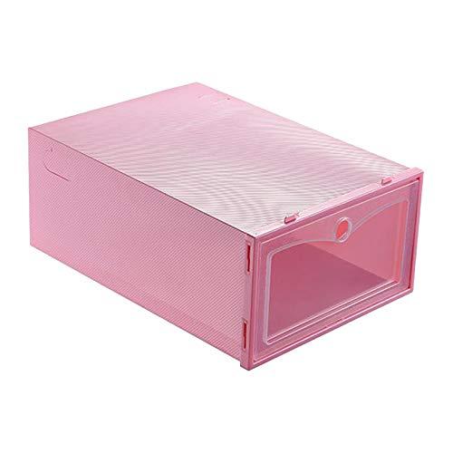 perfk Caja de Almacenamiento de Zapatos Apilable, Organizador de Zapatos de Plástico Y Contenedor con Tapas Frontales Transparentes para Empujar Y Tirar Fác - Rosado, Individual