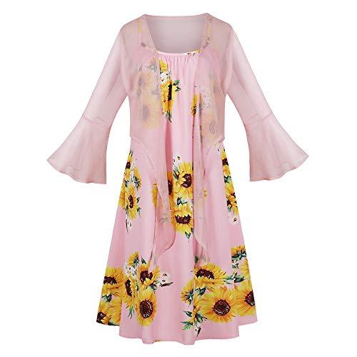 Missroo Vestido feminino com estampa de girassol, duas peças, vestido de malha com alças finas, manga flare, Multic, M