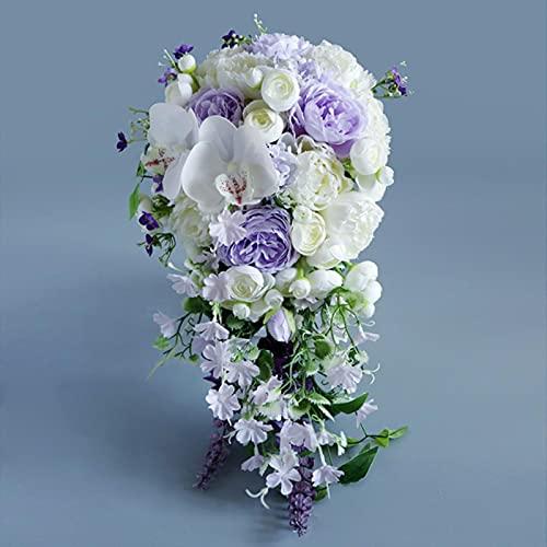 Cascada Flores de Boda púrpura Ramos de Novia Peonía Artificial Ramos de Boda Fiesta de Rosas Flor de celebración